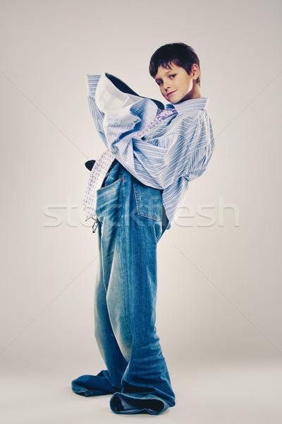 Vicces fiú visel apukék ruházat kaukázusi Stock fotó © zdenkam