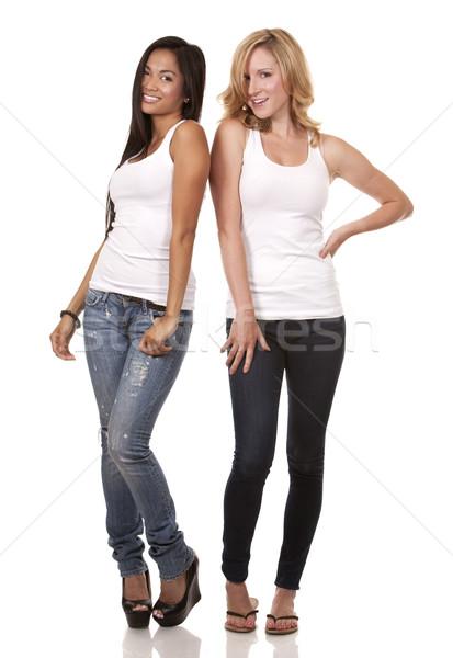 Kettő lezser nők gyönyörű két nő visel Stock fotó © zdenkam