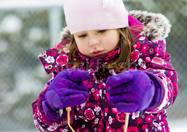 winter child on the snow Stock photo © zdenkam