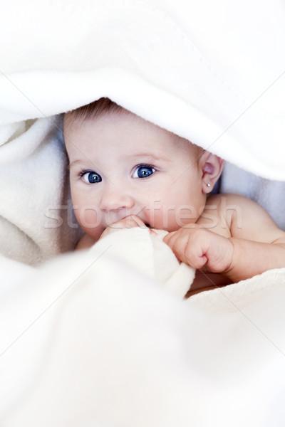Kicsi baba kislány fehér pléd arc Stock fotó © zdenkam