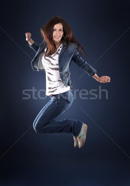 Saltar dançarina belo escuro dançar Foto stock © zdenkam