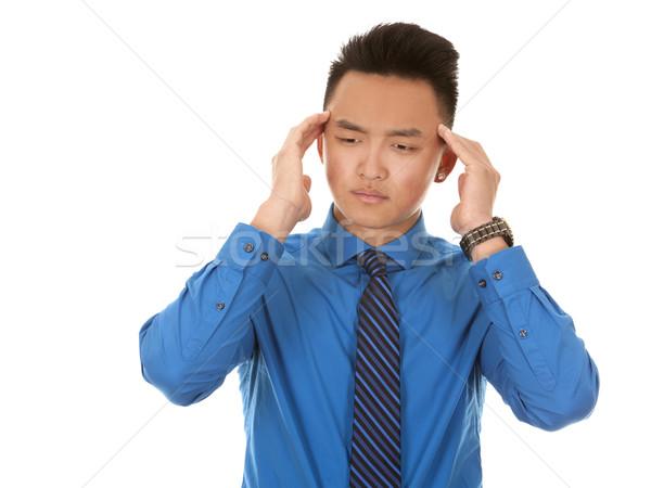 ázsiai üzletember fejfájás kínai visel kék Stock fotó © zdenkam