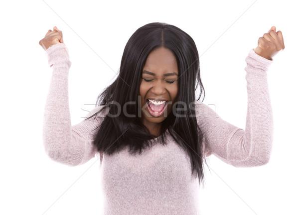 Lezser afroamerikai nő sikít fiatal visel fény Stock fotó © zdenkam