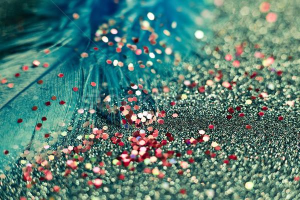 macro shot of feather and glitter Stock photo © zdenkam