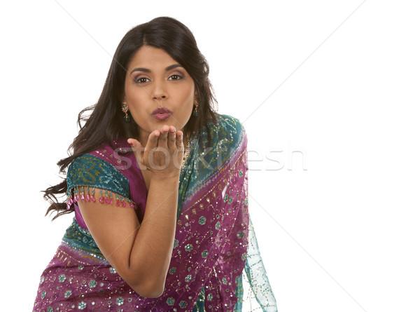 Indiai nő csinos fehér izolált szépség Stock fotó © zdenkam