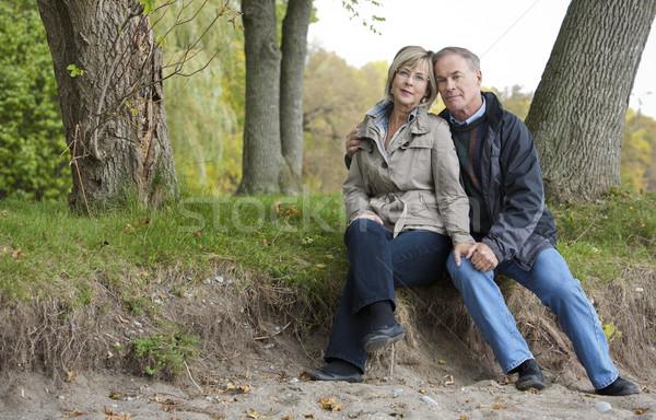 érett pár kint idősebb lezser ül Stock fotó © zdenkam