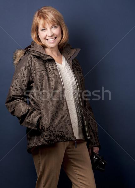 Inverno donna donna matura indossare giacca buio Foto d'archivio © zdenkam