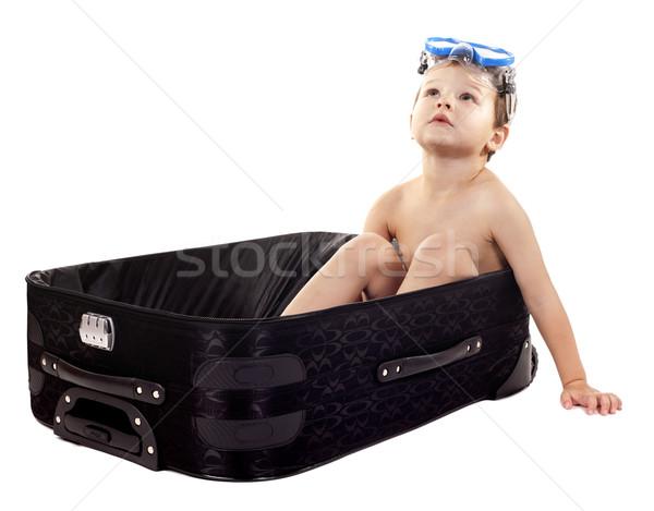 ストックフォト: 少年 · 荷物 · 座って · 着用 · シュノーケル