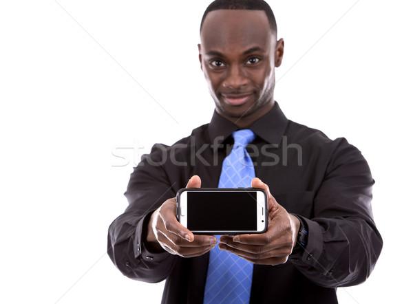 Guapo negro empresario jóvenes hombre de negocios teléfono celular Foto stock © zdenkam