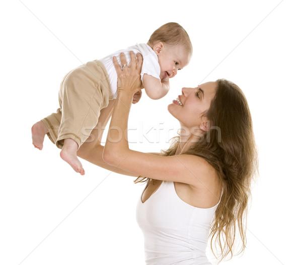 Mãe bebê filho branco isolado sorrir Foto stock © zdenkam