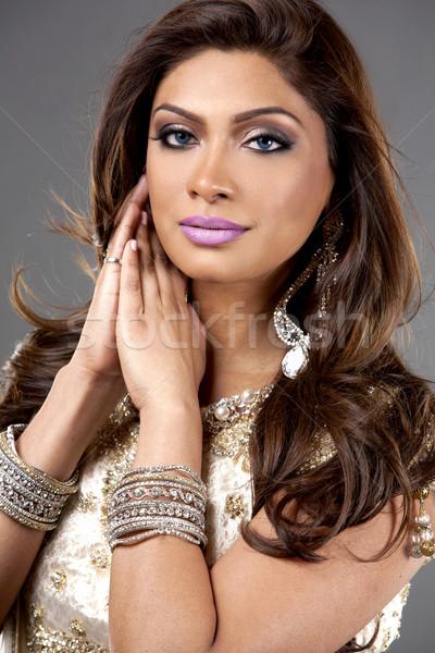 индийской женщину красивая женщина традиционный лице Сток-фото © zdenkam