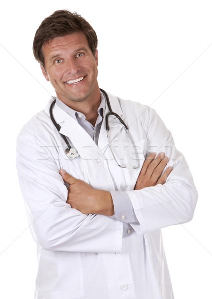 Feliz médico do sexo masculino caucasiano médico sorridente branco Foto stock © zdenkam