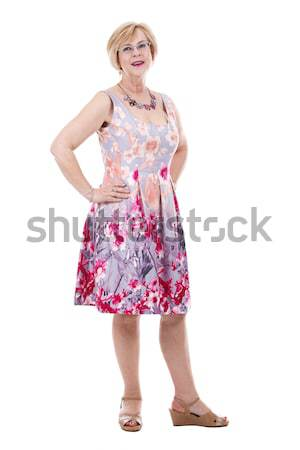 Előkelő kaukázusi nő csinos nő visel virág Stock fotó © zdenkam