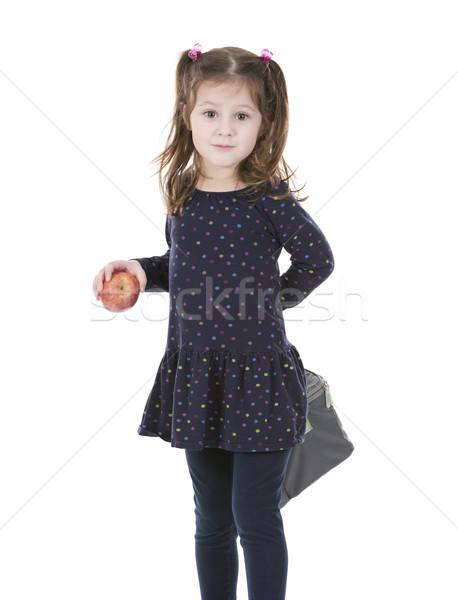 Meisje school lunch zak meisje Stockfoto © zdenkam