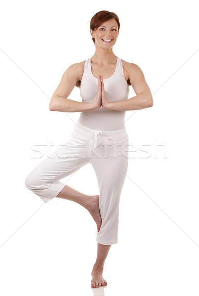 Nő jóga csinos barna hajú fehér aktív Stock fotó © zdenkam