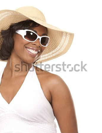Kadın plaj kıyafeti güzel esmer beyaz Stok fotoğraf © zdenkam