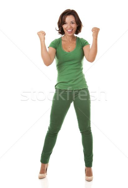 довольно брюнетка зеленый случайный женщину Сток-фото © zdenkam