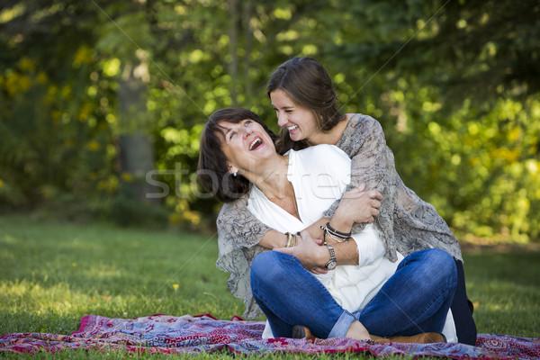 Mãe filha caucasiano juntos parque feliz Foto stock © zdenkam
