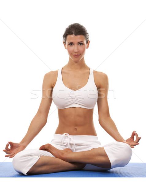 Nő jóga csinos barna hajú testmozgás fehér Stock fotó © zdenkam