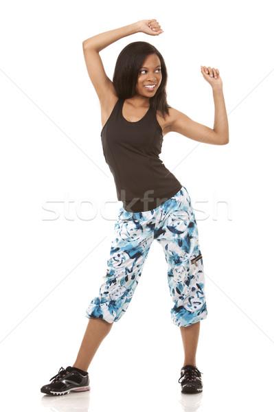 Stockfoto: Vrouw · zumba · mooie · vrouw · witte · geïsoleerd