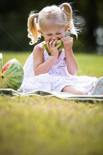 肖像 女の子 食べ スイカ 小さな 白人 ストックフォト © zdenkam