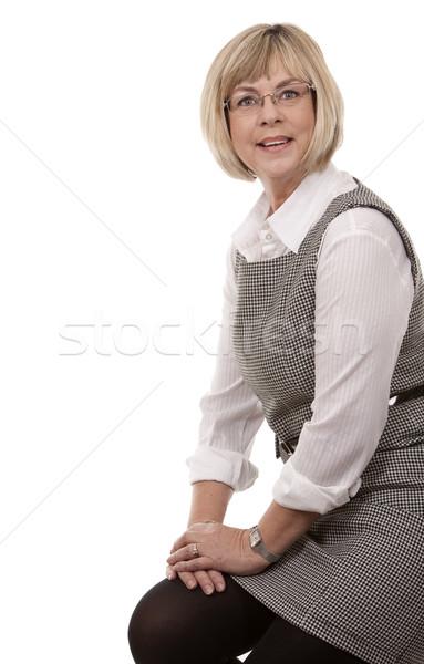 зрелый бизнеса носить белый женщину Сток-фото © zdenkam