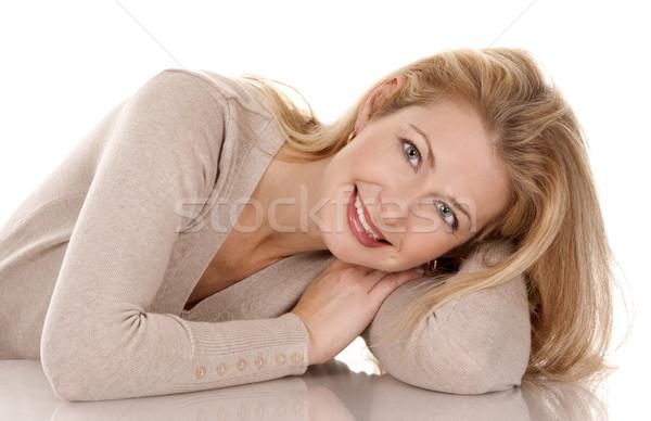 случайный женщину довольно бежевый Сток-фото © zdenkam