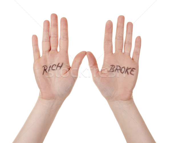 hands with rich broke message Stock photo © zdenkam