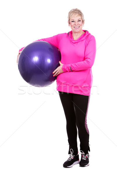 fit woman with excercise ball Stock photo © zdenkam