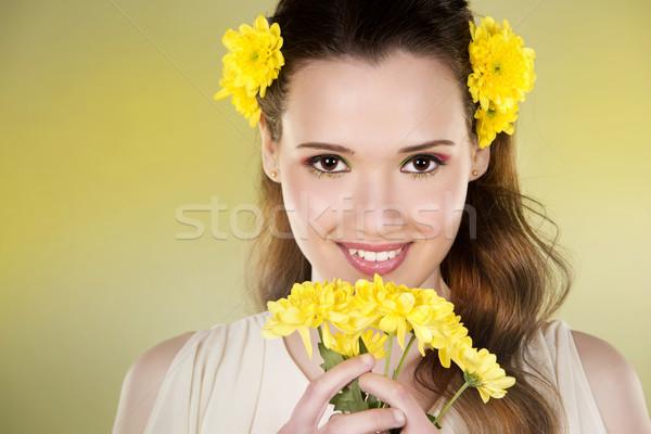 цветок женщину желтые цветы зеленый девушки Сток-фото © zdenkam