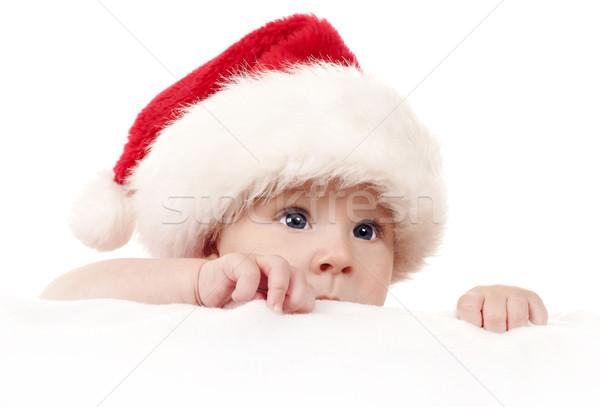 Karácsony baba kislány visel mikulás kalap Stock fotó © zdenkam