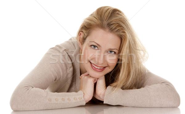 Lezser nő csinos szőke visel bézs Stock fotó © zdenkam