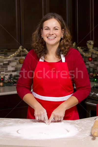 Kadın çizim un mutfak Noel süsler Stok fotoğraf © zdenkam