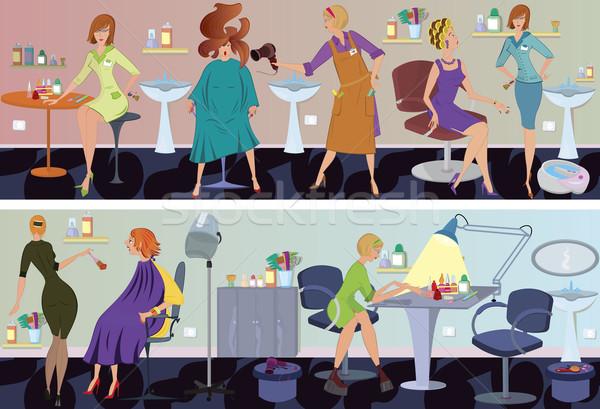 Salão de beleza bandeira cabelo soprar trabalhadores clientes Foto stock © Zebra-Finch