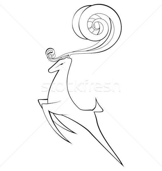 Feketefehér szarvas vektor körvonal spirál agancs Stock fotó © Zebra-Finch