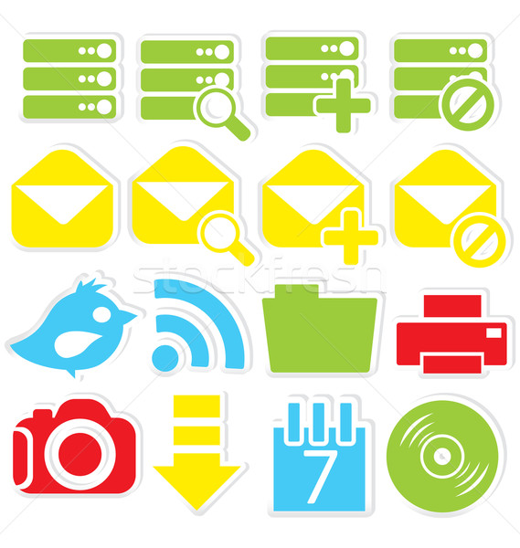 Internet pictogrammen database stickers geïsoleerd witte internet Stockfoto © Zebra-Finch