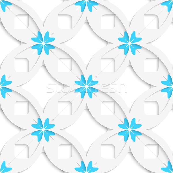 Fehér mértani virágok négyzetek réteges végtelenített Stock fotó © Zebra-Finch