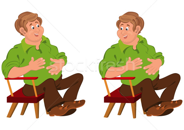 Happy cartoon man sitting in armchair with hands on stomach Stock photo © Zebra-Finch