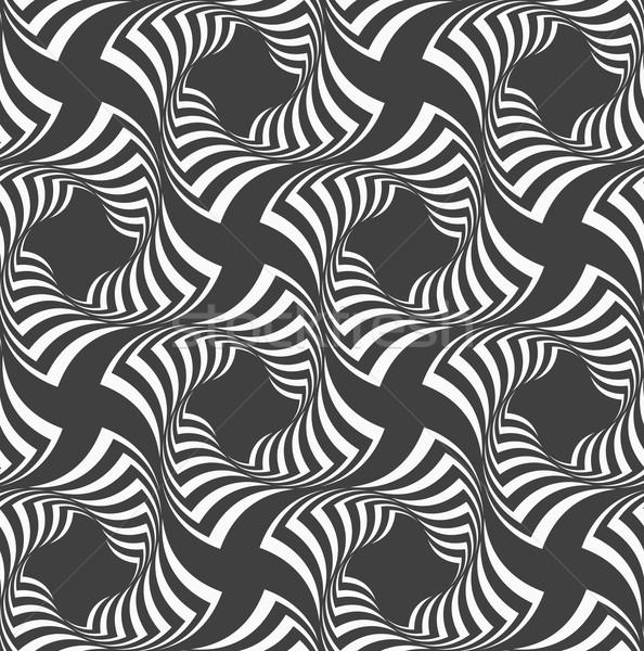 Czarno białe falisty pasiasty krzyże geometryczny Zdjęcia stock © Zebra-Finch