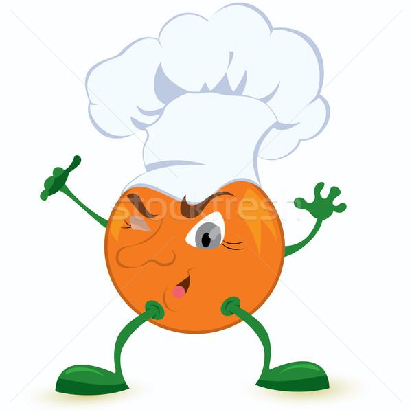 Narancs rajzfilmfigura szakács sapka szem arc boldog Stock fotó © Zebra-Finch