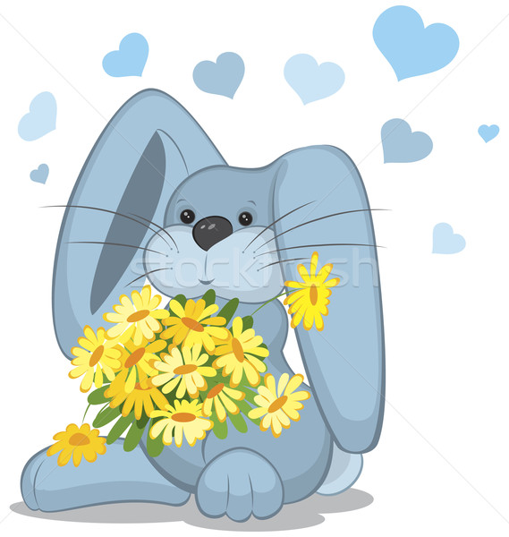 Blue rabbit  with daisy flowers Stock photo © Zebra-Finch