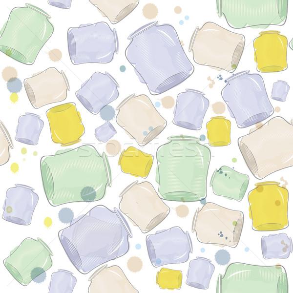 Water color jars  seamless vector Stock photo © Zebra-Finch