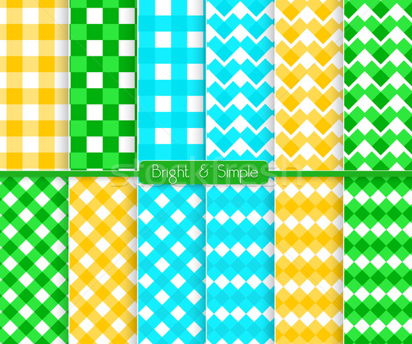 Bright and simple blue orange and green squares pattern set Stock photo © Zebra-Finch