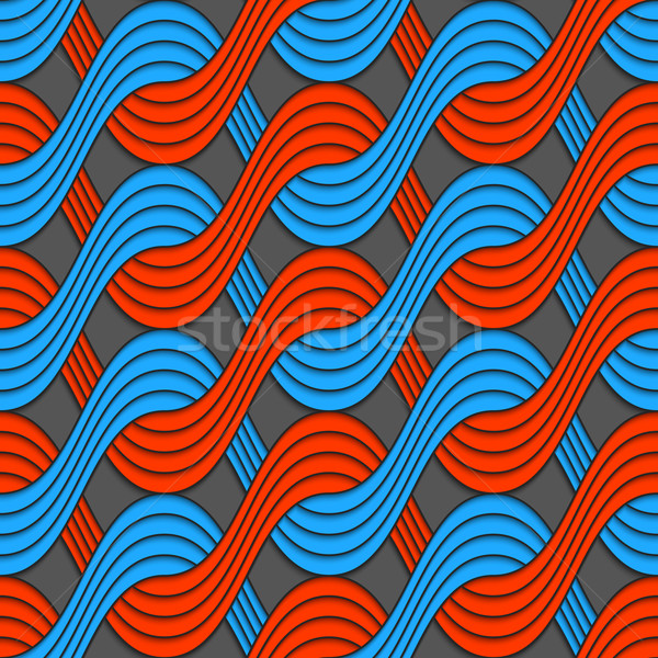 Red and blue embossed interlocking wavy lines Stock photo © Zebra-Finch