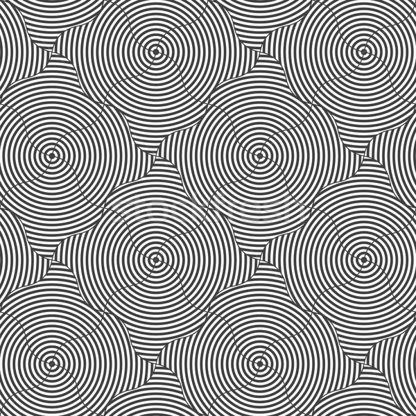 Czarno białe falisty kółko pasiasty geometryczny Zdjęcia stock © Zebra-Finch