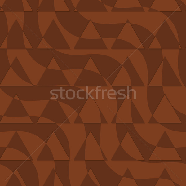 Retro 3D brown waves with cut out triangles Stock photo © Zebra-Finch