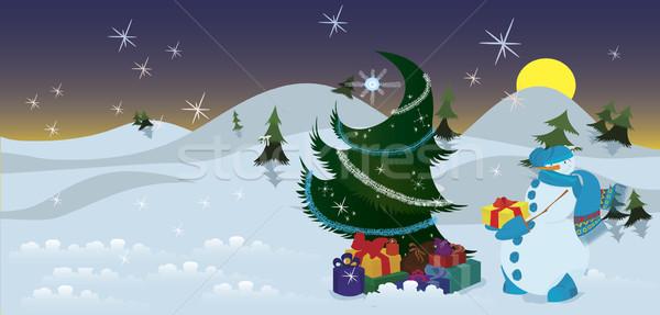 Stock fotó: Hóember · ajándékok · karácsonyfa · szalag · éjszaka · háttér