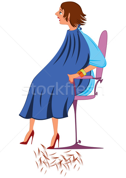 Cartoon  woman in blue robe with new haircut Stock photo © Zebra-Finch