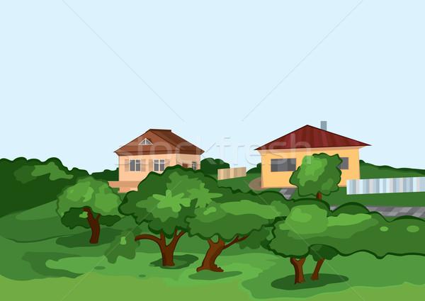 Rajz falu házak zöld fák illusztráció Stock fotó © Zebra-Finch