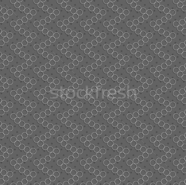 Mértani minta fehér üreges körök szürke Stock fotó © Zebra-Finch